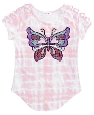 Beautees Big Girls Flip Sequin Tie-Dye Butterfly T-Shirt