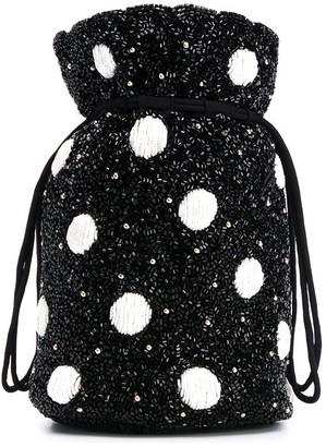 Ganni Polka Dot Beaded Bucket Bag