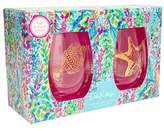 Lilly Pulitzer R) Set of 2 Stemless Wine Glasses