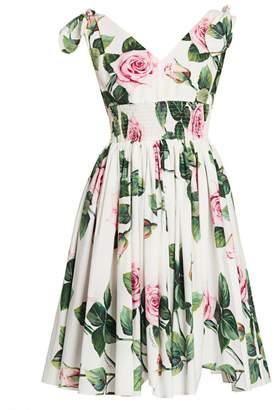Dolce & Gabbana Rose Print Tie-Shoulder Fit-&-Flare Dress