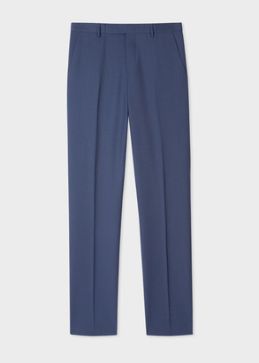 Men's Slim-Fit Slate Blue Wool 'A Suit To Travel In' Trousers