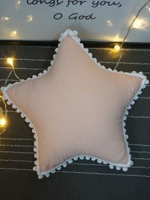 Goodnight Macaroon 'Star' Pom Pom Trim Cushion