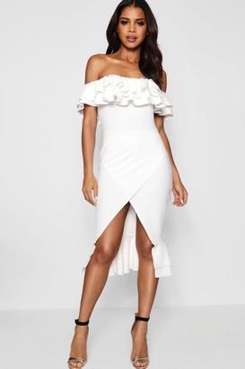 boohoo Ruffle Off the Shoulder Midi Dress