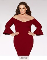 Quiz Curve Bardot 3/4 Frill Sleeve Midi Dress
