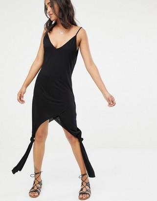 Asos Design DESIGN knot side drape jersey beach cover up-Black