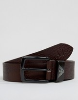Armani Jeans Logo Leather Belt In Brown