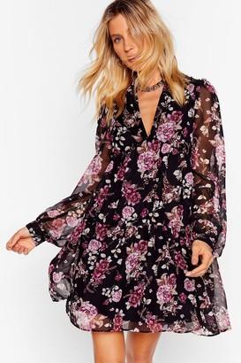 Nasty Gal Womens Wish You Were Tier Floral Mini Dress - Black - 6