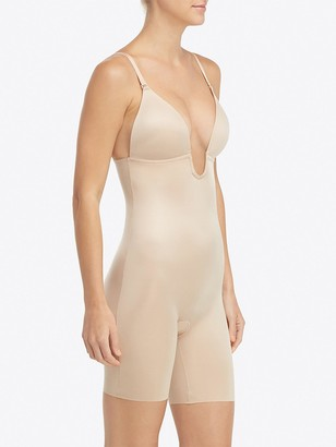 Spanx Suit Your Fancy Plunge Low Back Mid Thigh Bodysuit - Nude