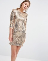 TFNC Patterned Sequin Mini Dress with 3/4 Sleeve