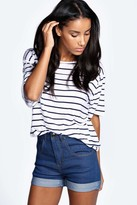 boohoo Corina High Waisted Turn Up Denim Shorts
