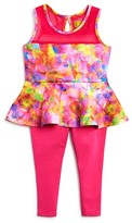 Nicole Miller Infant Girls' Print Peplum Top & Solid Leggings Set - Sizes 12-24 Months
