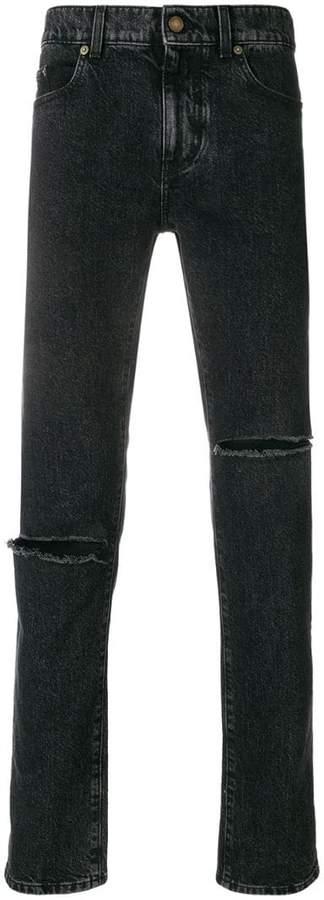 Saint Laurent ripped straight leg jeans
