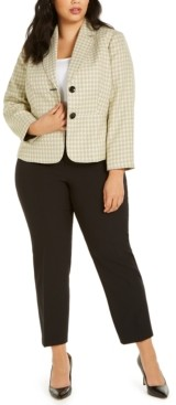 Le Suit Plus Size Tweed-Jacket Pants Suit