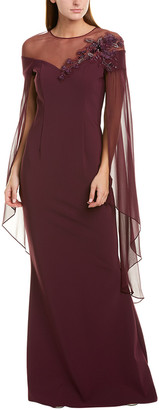 Teri Jon By Rickie Freeman Silk-Trim Gown