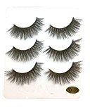 Voberry 3 Pairs Long False Eyelashes Natural Black Makeup Fake Thick Black Eye Lashes (E)