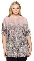 Calvin Klein Women's Plus Size Printed Roll Sleeve