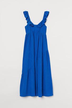 H&M Ruffle-trimmed Dress - Blue