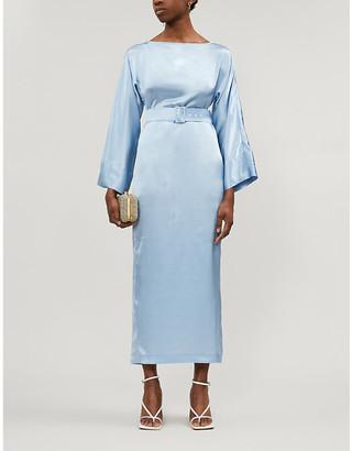 Selfridges Bernadette Jackie belted silk-satin midi dress