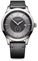 Victorinox Sterling Silver Leather Banded Wristwatch