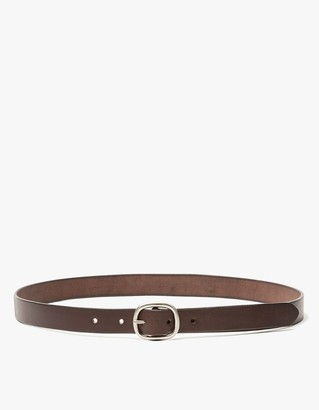 Maximum Henry Men's Slim Oval Belt in Dark Brown/Silver, Size Small | Leather