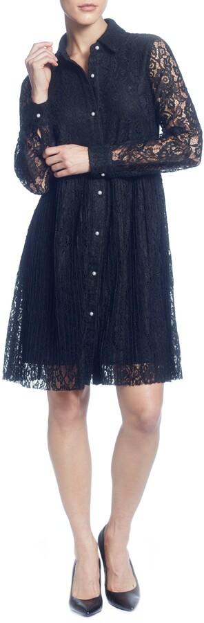 Catherine Malandrino Long Sleeve Button Up Lace Shirt Dress
