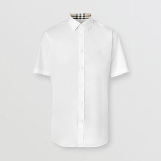 Burberry Short-seeve Monogram Motif Stretch Cotton Shirt