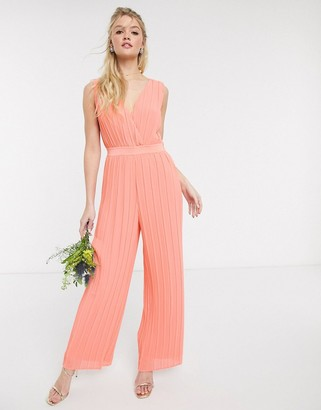 Y.A.S pleated jumpsuit with deep v neck in coral