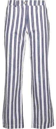 MiH Jeans Cropped Striped Cotton-Oxford Straight-Leg Pants