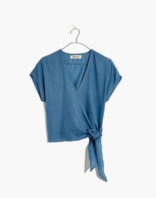 Madewell Petite Denim Short-Sleeve Wrap Top in Faded Indigo