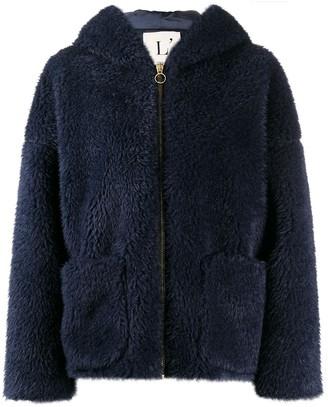 L'Autre Chose Faux Shearling Long-Sleeve Coat