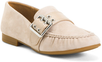 Slip On Suede Loafers With Buckles