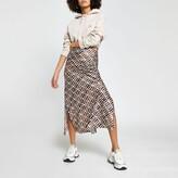 Thumbnail for your product : River Island Womens Brown RI print split skirt