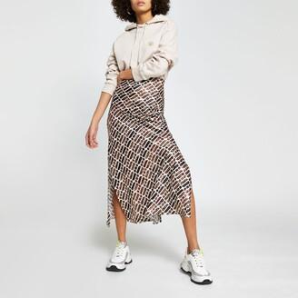 River Island Womens Brown RI print split skirt