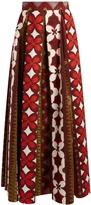 Valentino Cuban Flower-print pleated panama skirt