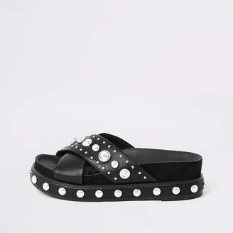 River Island Black studded flatform sandals