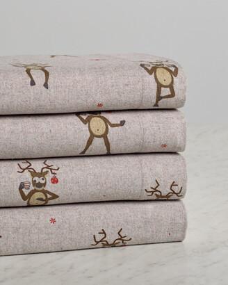 Belle Epoque Drunken Reindeer Flannel Sheet Set
