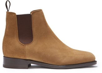 Hugs & Co Womens Tobacco Suede Chelsea Boots Welted Leather Sole