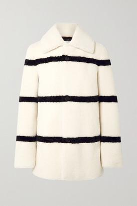 Saint Laurent Striped Shearling Coat - Ivory