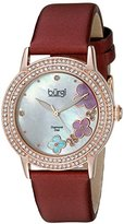 Burgi Women's BUR142BUR Rose Gold Quartz Watch With Swarovski Crystal and Diamond Mother of Pearl Dial With Burgundy Leather Strap