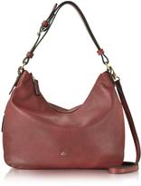 Roccobarocco Large Burgundy Eco Leather Zip Hobo Bag