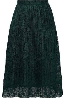 See by Chloe Plisse-lace Midi Skirt