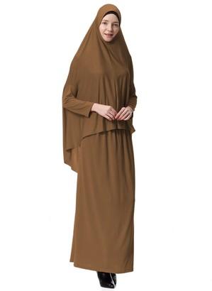 Hougood Muslim Dresses for Women Two-Piece Full Length Hijab Dress Robe Suit Abaya Scarf Dress Robe Gown Prayer Dress Top andDress Sets Basic Style B Khaki