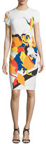 Prabal Gurung Abstract Floral-Print Sheath Dress, Multi Floral Lace