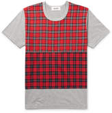 Aloye - Check-panelled Cotton-jersey T-shirt - Gray