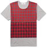 Aloye - Check-Panelled Cotton-Jersey T-Shirt