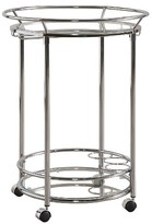 Inspire Q Elva Round Metal + Glass Bar Cart - Chrome