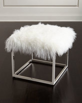 Massoud Reno Chrome and Sheepskin Ottoman