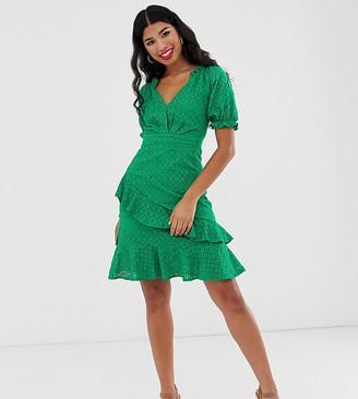 Dark Pink milkmaid anglaise mini dress in green