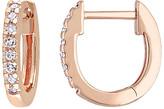 Sofia B Women's Earrings Rose - Diamond & 10k Rose Gold Round-Cut Huggie Earrings