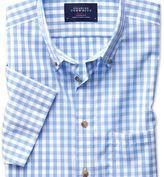 Charles Tyrwhitt Classic fit button-down non-iron poplin short sleeve sky blue gingham shirt